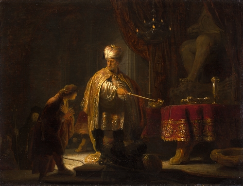 Rembrandt - Daniel and Cyrus before the idol Baal