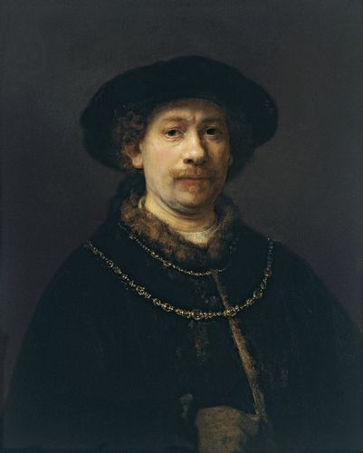 Rembrandt - Self-portrait wearing a Hat and two Chains