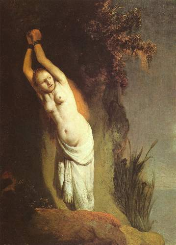 Andromeda chained to a rock by Rembrandt