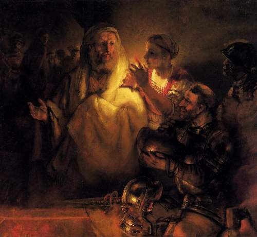 Apostle Peter disavowals Christ by Rembrandt