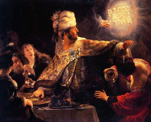 Belsazar catches sight of the writing on the wall by Rembrandt