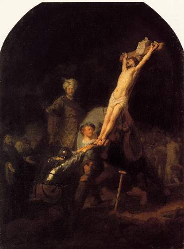 Hanging the cross by Rembrandt