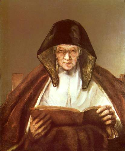 Old woman reading by Rembrandt