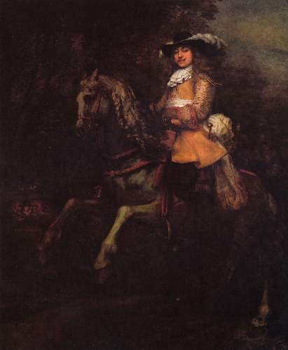 Portrait of Frederick Rihel with horse by Rembrandt
