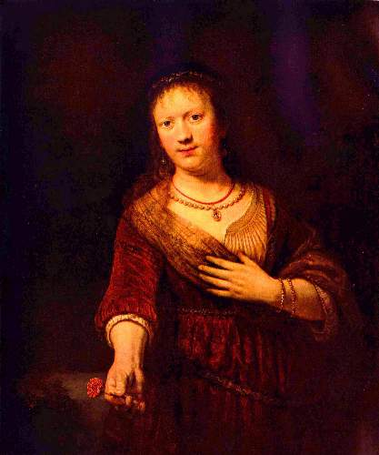 Portrait of Saskia with flower by Rembrandt