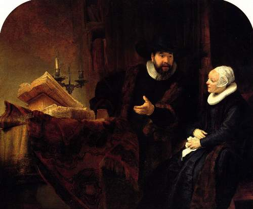 Preacher Cornelis Anslo and his wife by Rembrandt