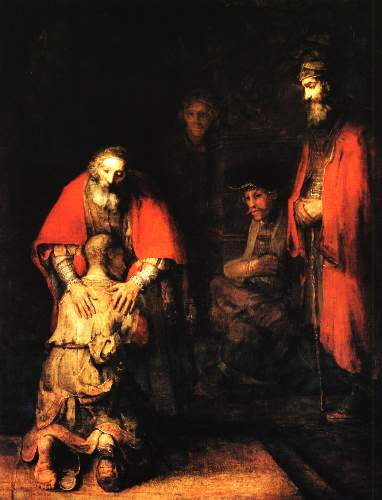 Prodigal son returns by Rembrandt
