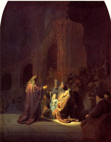 The presentation in the Temple by Rembrandt