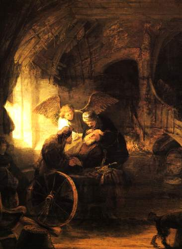 Tobias heals his father by Rembrandt