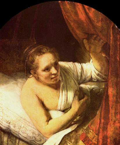 Woman in bed by Rembrandt
