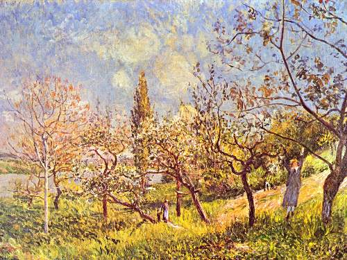 An orchard in spring by Sisley