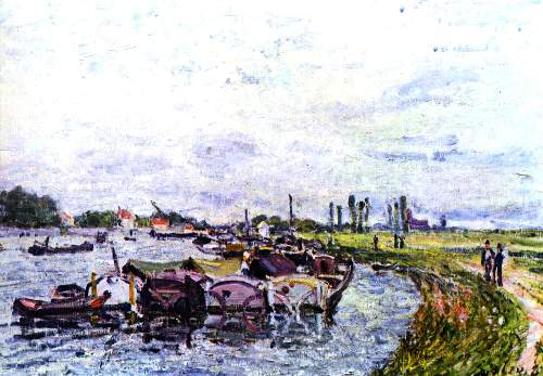 Barges in Saint Mammes by Sisley