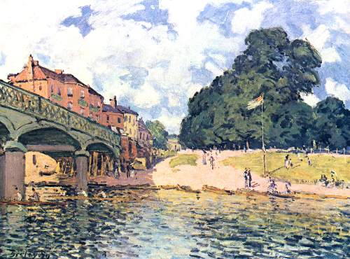 Bridge of Hampton Court by Sisley
