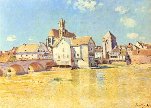 Bridge of Moret in morning sun by Sisley