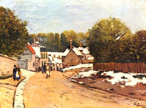 First snow in Louveciennes by Sisley