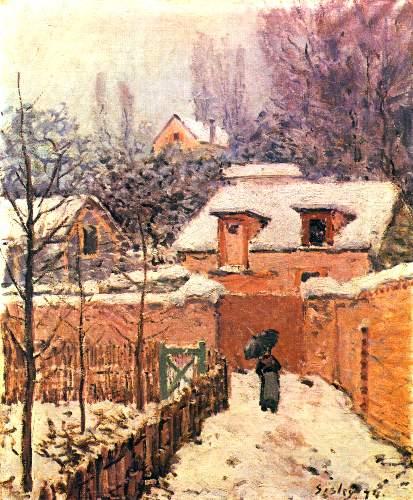 Garden in Louveciennes in snow by Sisley