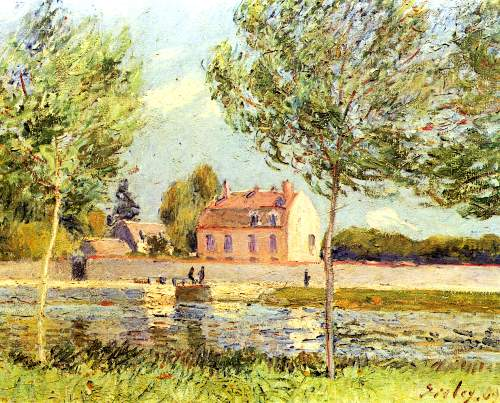 Houses on the bank of Loing by Sisley
