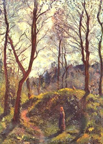 Landscape with large trees by Pissarro