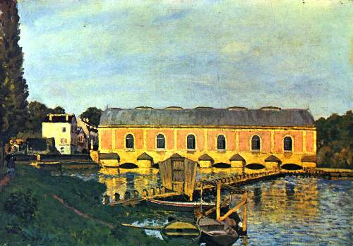 Machine house of the pump in Marly by Sisley