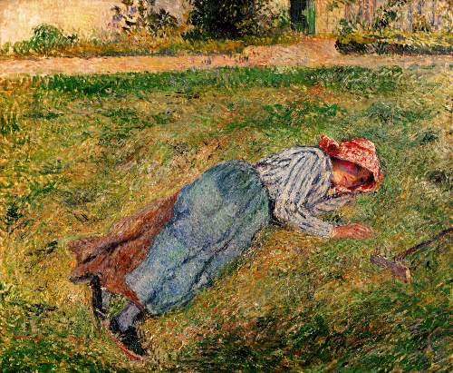 Peasant woman lying in the grass by Pissarro