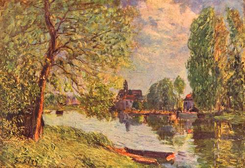 River landscape in Moret by Sisley