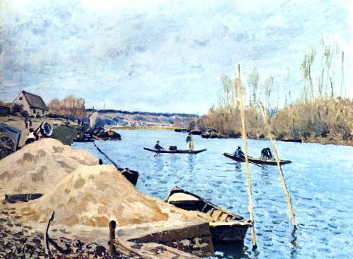 Seine at port Marly by Sisley