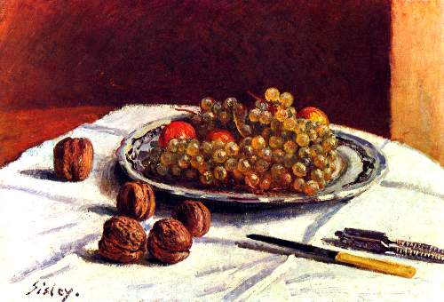 Still life, grapes and nuts by Sisley