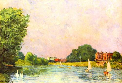 Thames at Hampton Court by Sisley
