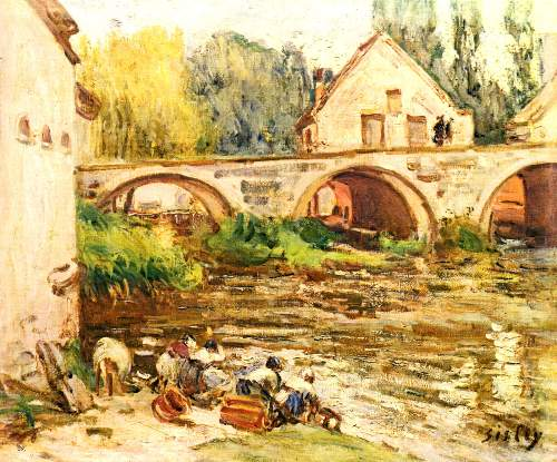 The laundresses of Moret by Sisley
