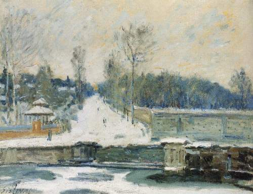 The watering place at Marly by Sisley