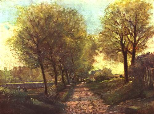 Tree avenue in a small town by Sisley