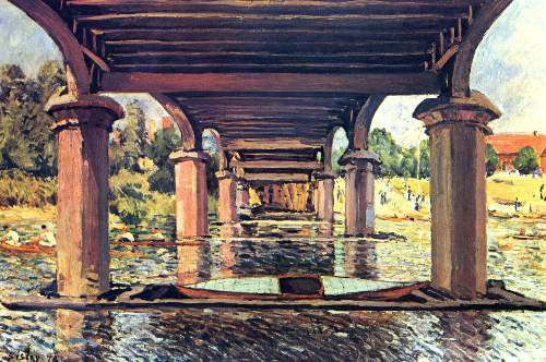 Under the bridge of Hampton Court by Sisley