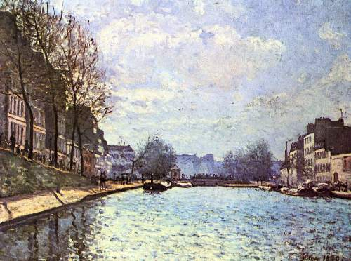 View of the channel Saint Martin in Paris by Sisley