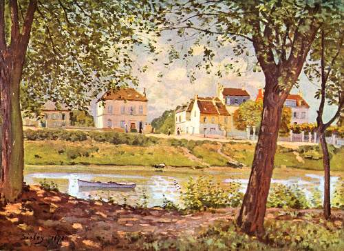 Village on the bank of the Seine by Sisley