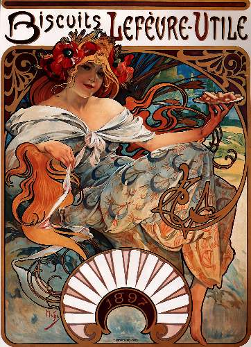 Buscuits, Lefevre-Utile by Alphonse Mucha