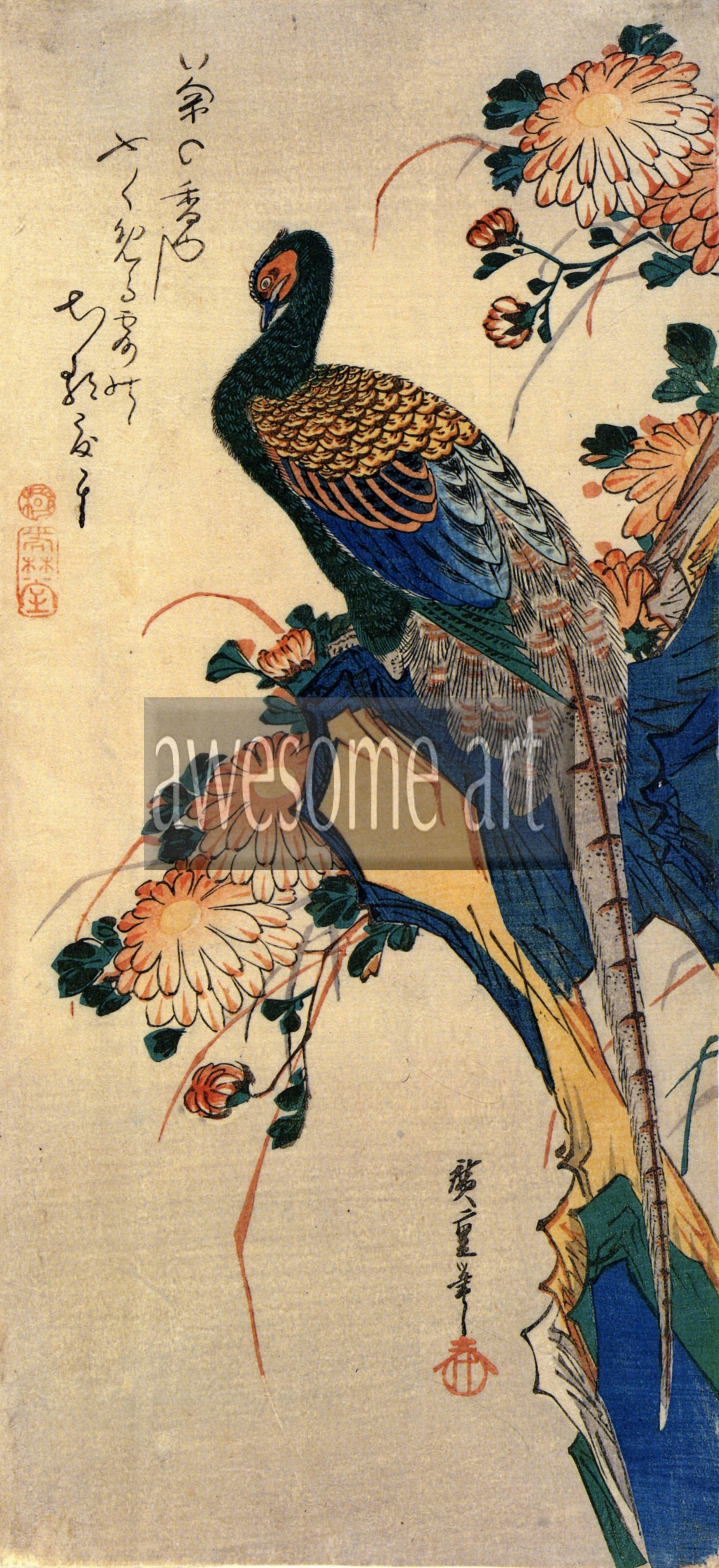 Pheasant and chrysanthemum by hiroshige for Art and craft drawing and painting
