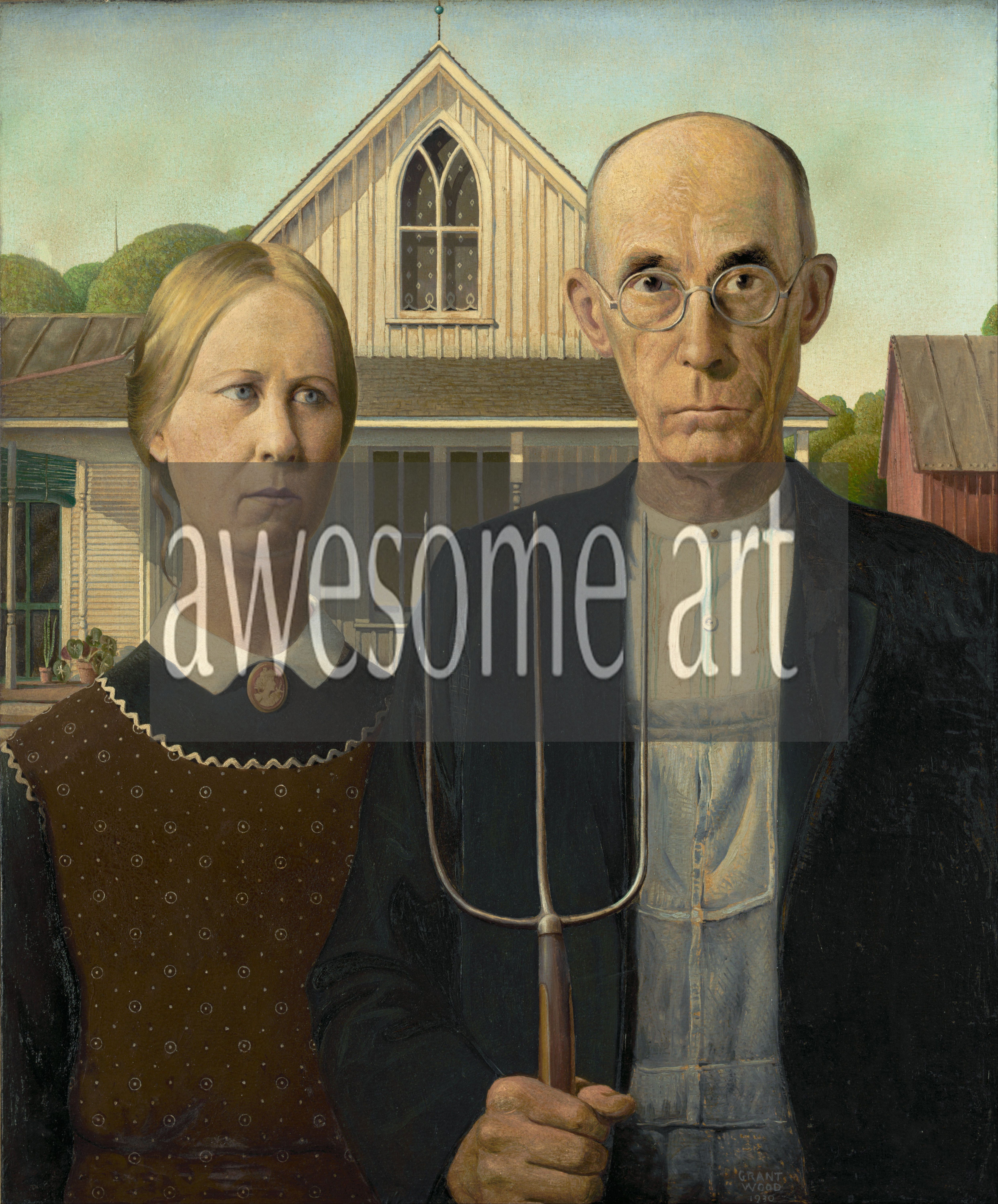 """grant wood and the american gothic Had grant wood not made the painting """"american gothic"""" (1930), there would not be a grant wood retrospective now at the whitney museum this would be a pity."""