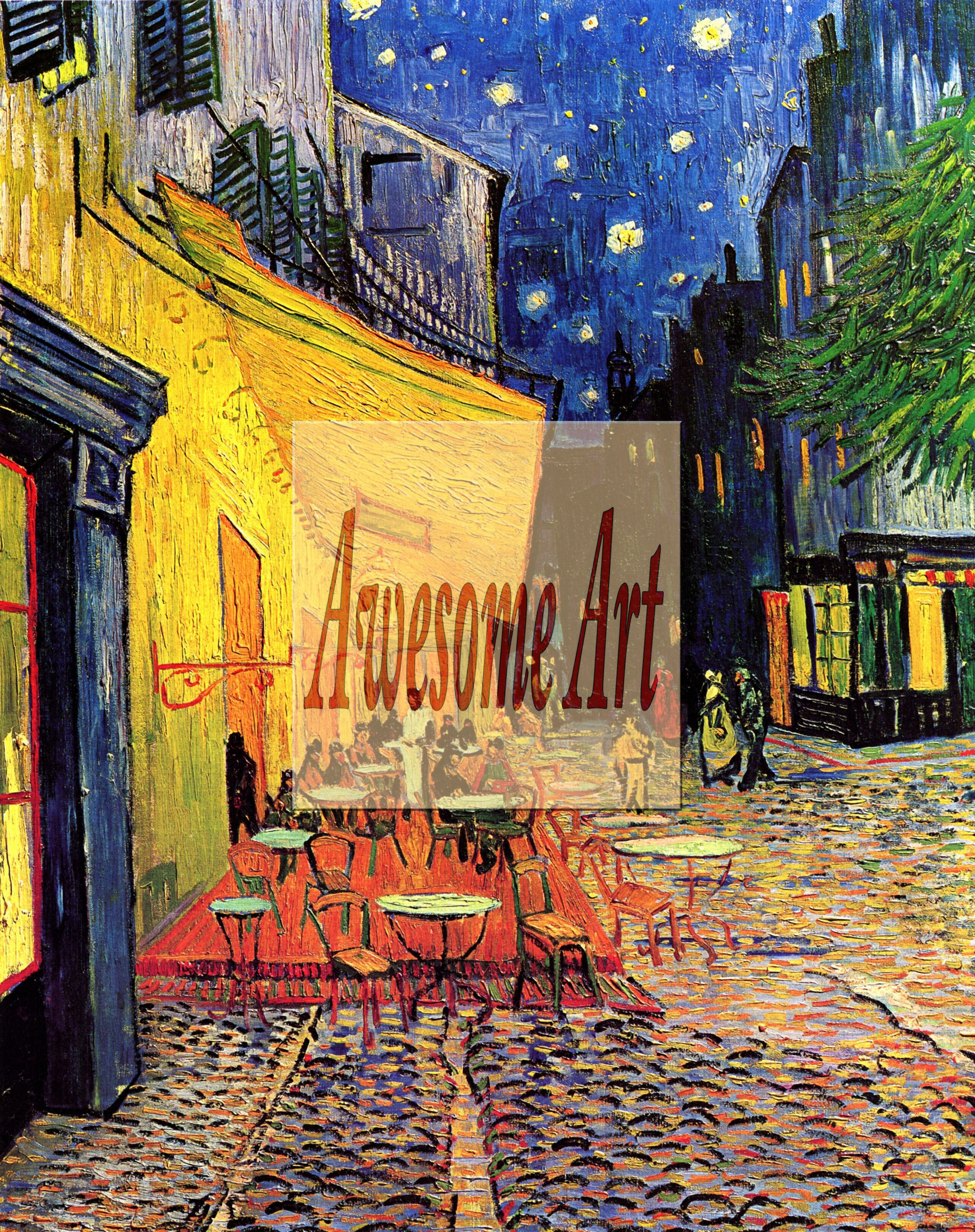 Van gogh the cafe terrace on the place du forum arles at night