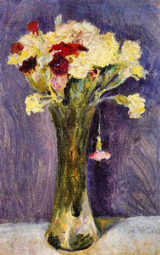 August Macke - Carnations in a green vase
