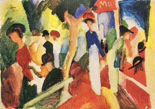 August Macke - Hat shop at the promenade