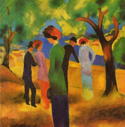 August Macke - Lady in a green jacket