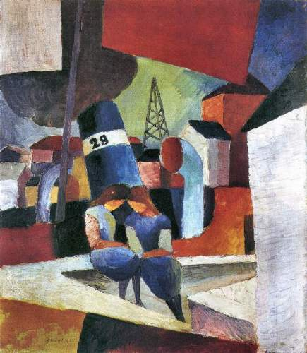 August Macke - Picture with children on the wall - Dusiburger port