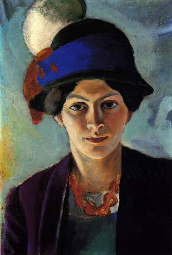August Macke - Portrait of the wife of the artist with a hat