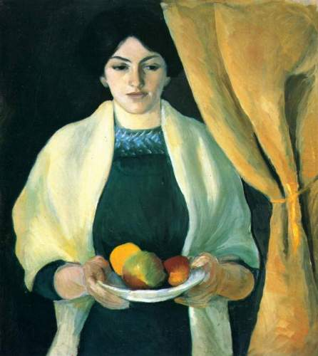 August Macke - Portrait with apples (portrait of the wife of the artist)