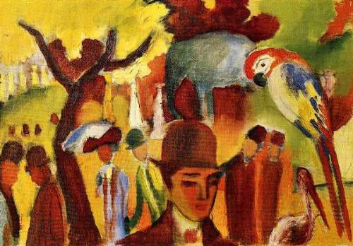 August Macke - Small Zoological Garden in brown and yellow