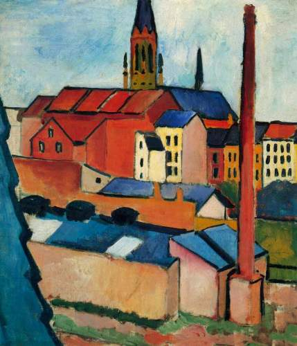 August Macke - St. Mary's Church with houses and chimney