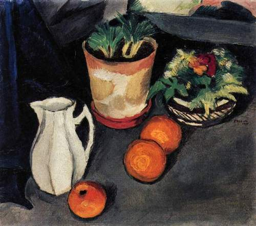 August Macke - Still Life with Flowers and Milk Jug