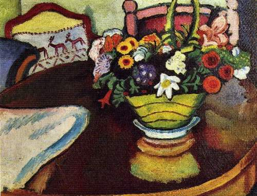 August Macke - Still Life with venison and ostrich pillow