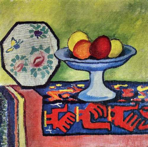 August Macke - Still life with apple peel and a Japanese fan