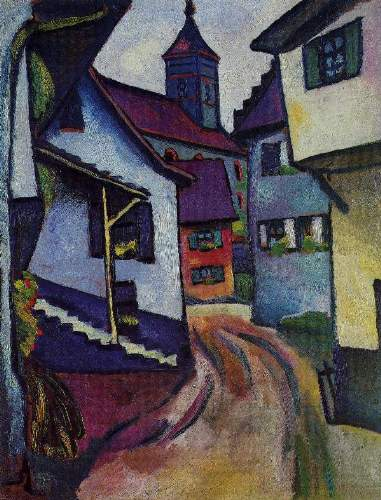 August Macke - Street with a church in Kandern